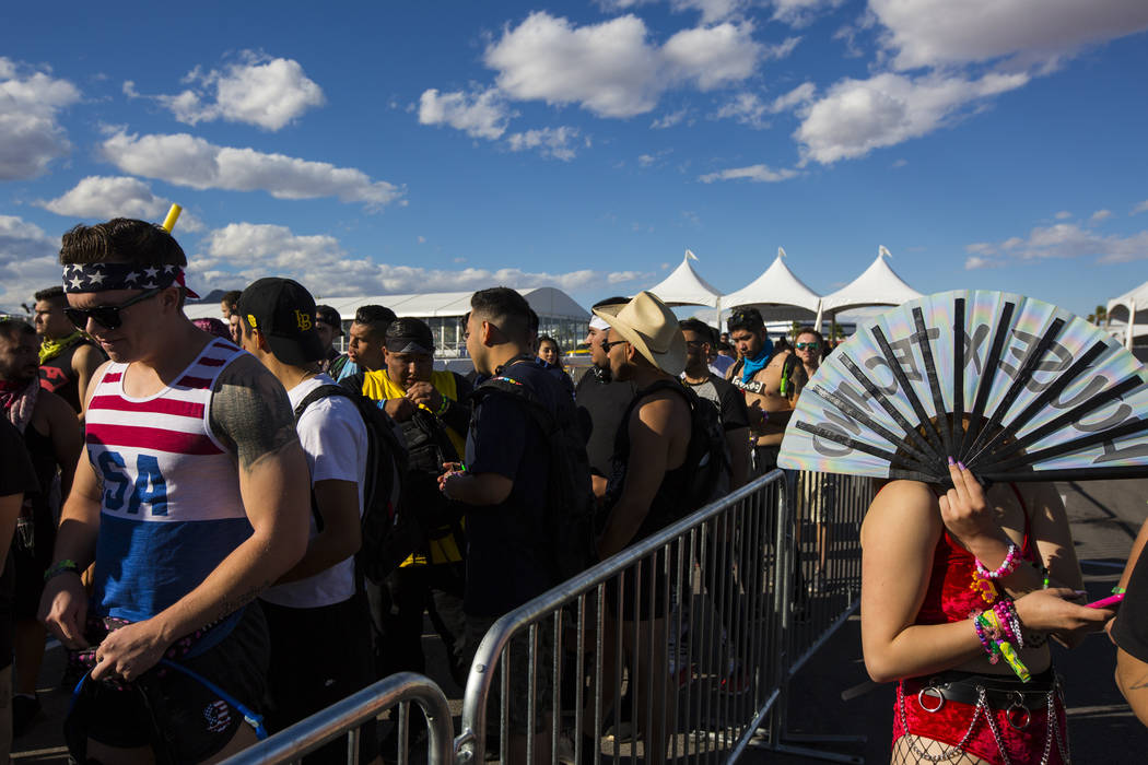 Electric Daisy Carnival attendees line up to enter the Las Vegas Motor Speedway in Las Vegas on ...