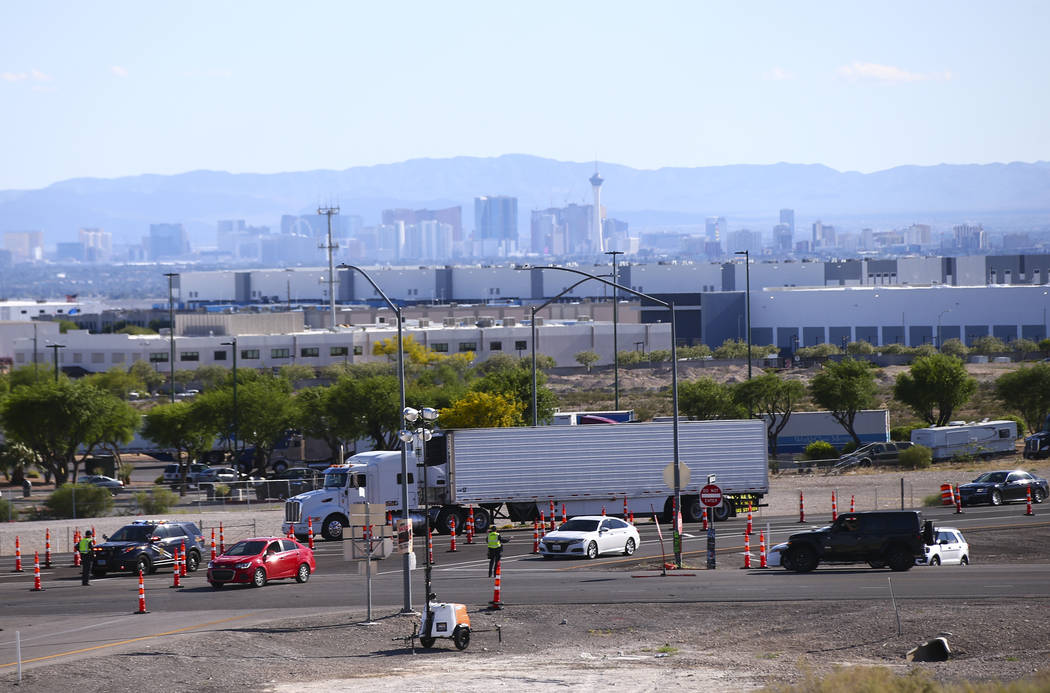 Traffic along the Speedway Boulevard exit from Interstate 15 as Electric Daisy Carnival attende ...