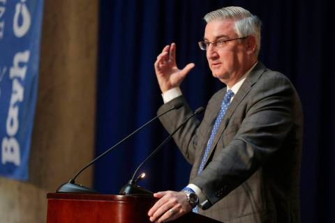 Indiana Governor Eric Holcomb is seen at the Indiana Statehouse in Indianapolis, Wednesday, May ...