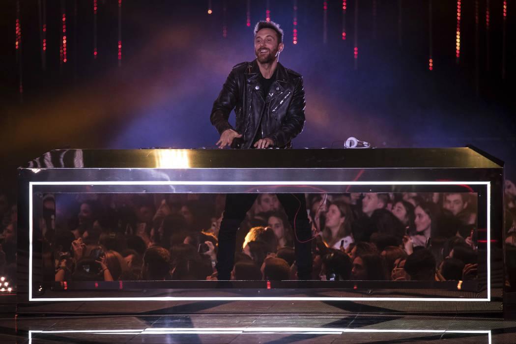 DJ David Guetta performs during the European MTV Awards in Bilbao, Spain, Sunday, Nov. 4, 2018. ...