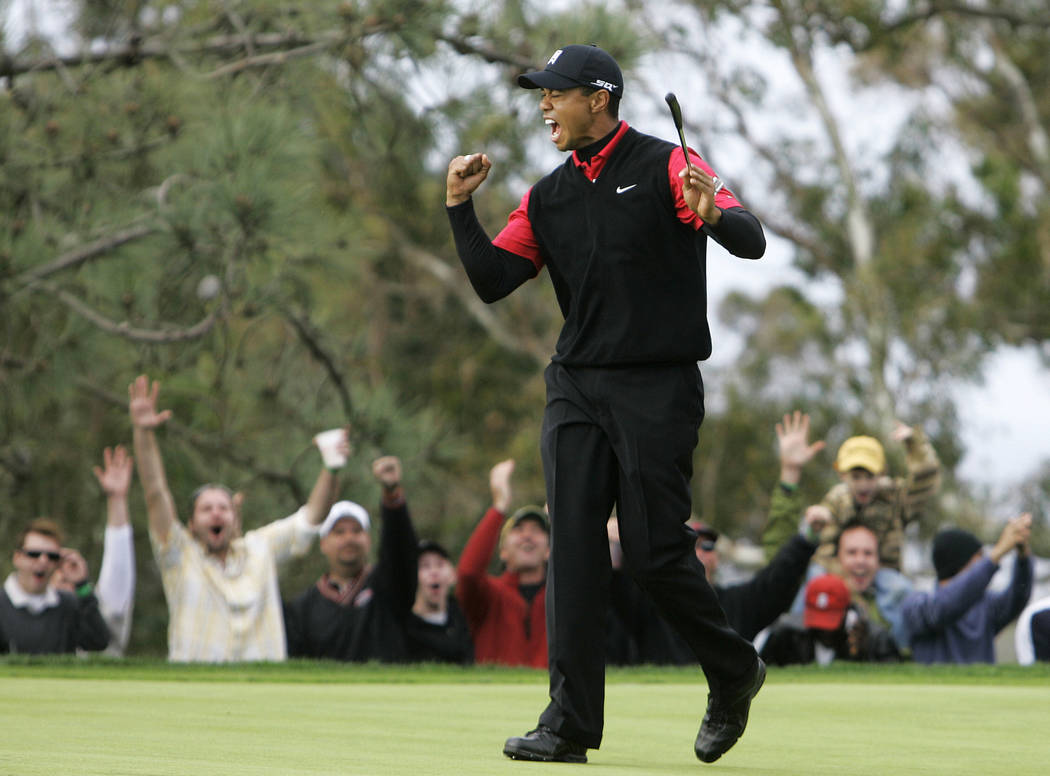 FILE - In this Jan. 27, 2008, file photo, Tiger Woods and the gallery celebrate his birdie on t ...