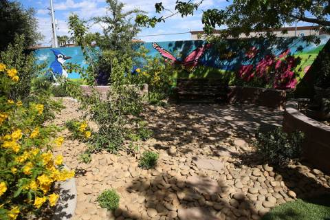 A new healing garden at the Shade Tree shelter in North Las Vegas is photographed during a tour ...