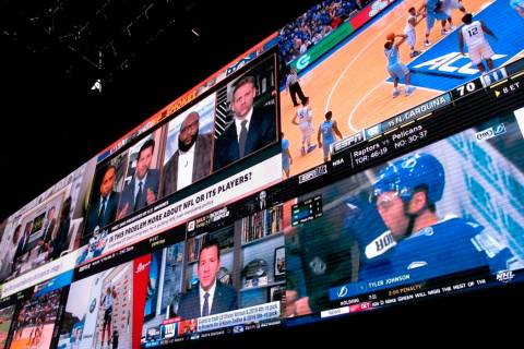 A wall of video screens is seen in the sports betting lounge at the Tropicana casino in Atlanti ...