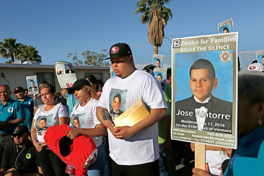 Edith Guzman, from left, attends a vigil to remember her son Jose De Jesus Alatorre Guzman in L ...