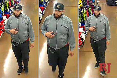North Las Vegas police are looking for this suspect in a burglary at a Walmart in April. (North ...