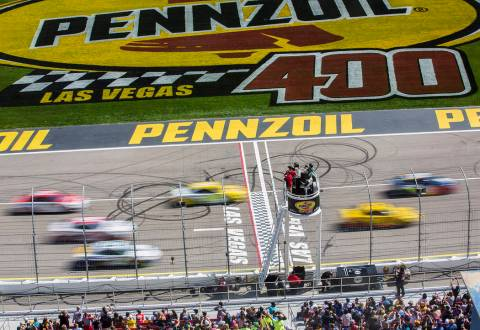 Racers compete in the Monster Energy NASCAR Cup Series Pennzoil 400 on Sunday, March 3, 2019, a ...
