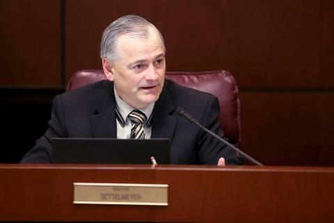 Sen. James Settelmeyer, R-Minden, asks a question during a Finance Committee meeting in the Leg ...