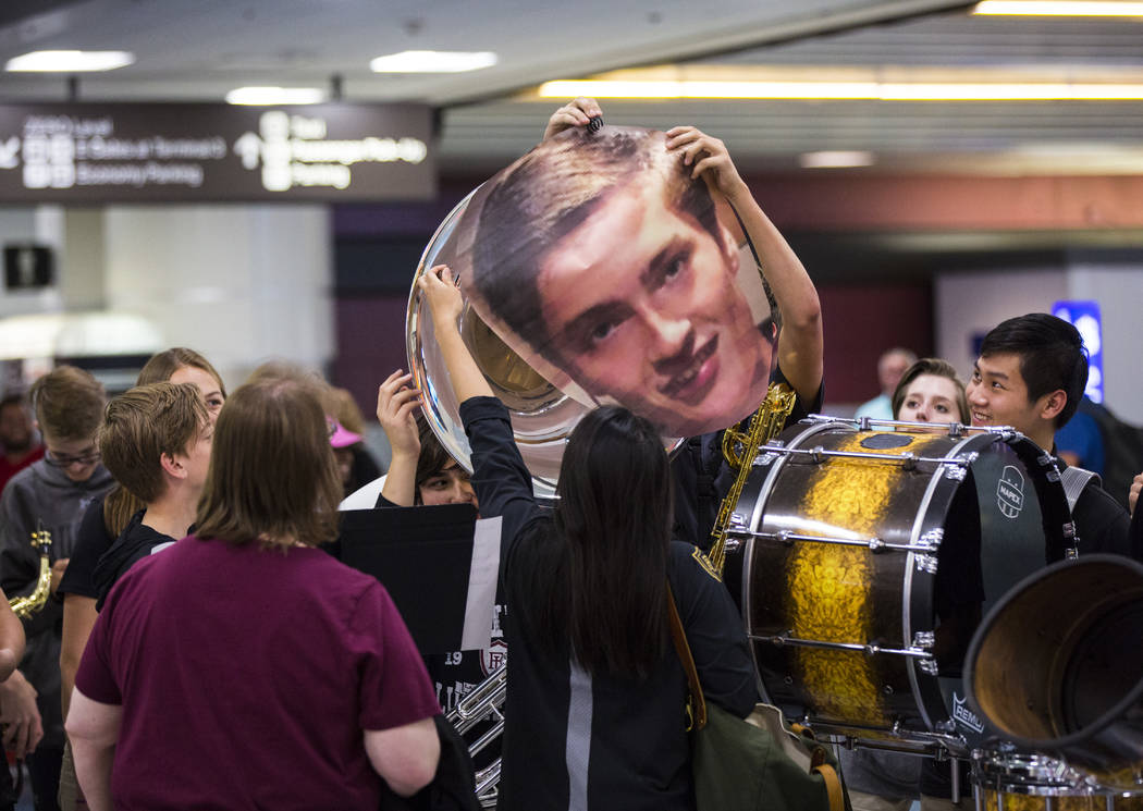 Faith Lutheran students prepare to welcome senior Mark Wilbourne back home at McCarran Internat ...