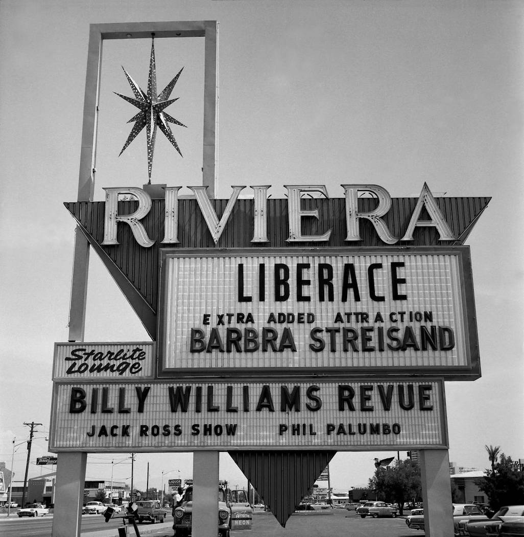 Riviera Hotel marquee on Aug. 4, 1963, with Liberace and Barbra Streisand. (Las Vegas News Bureau)