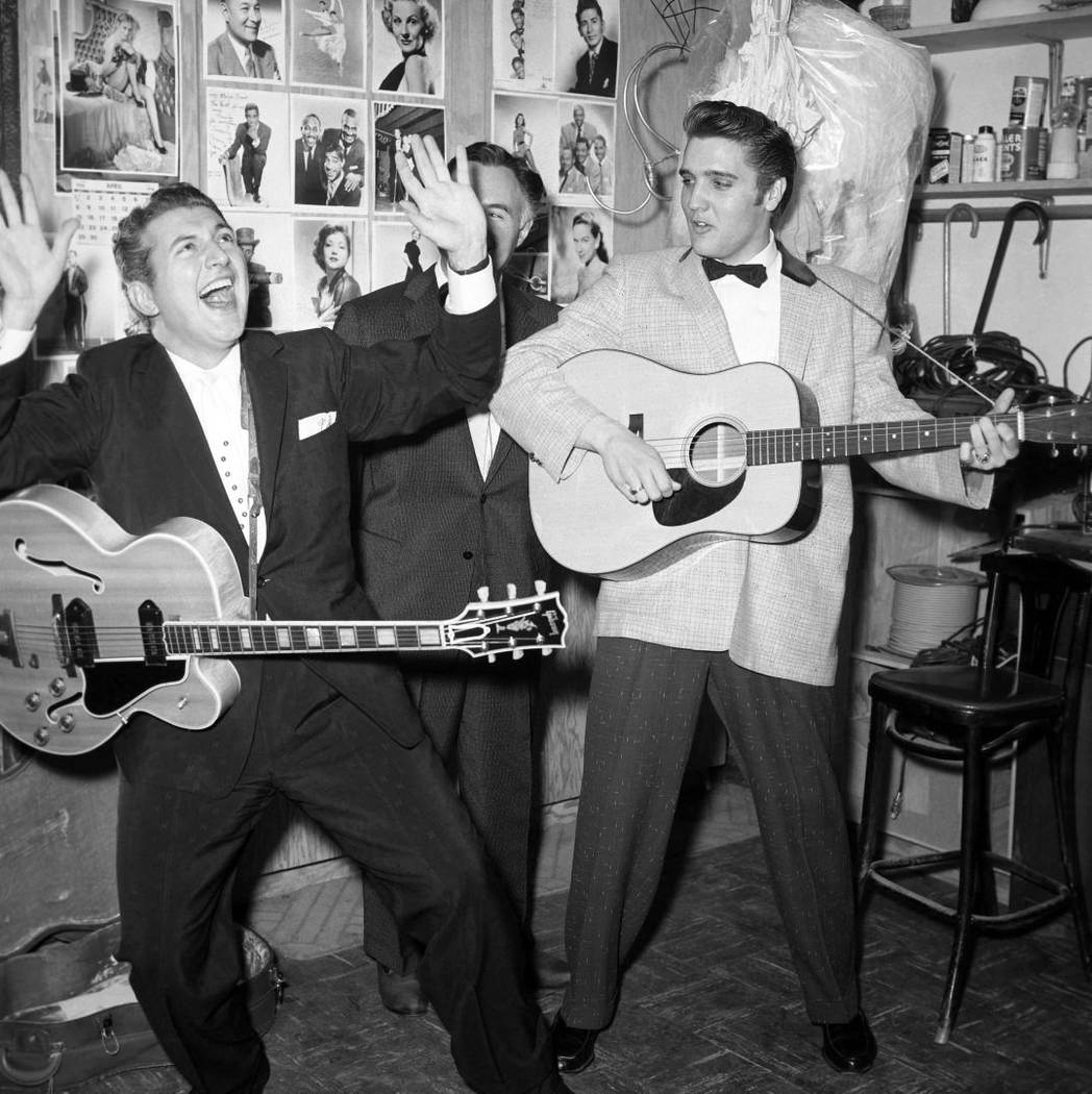 Liberace, George Liberace and Elvis Presley on April 30, 1956, at the New Frontier. (Las Vegas ...