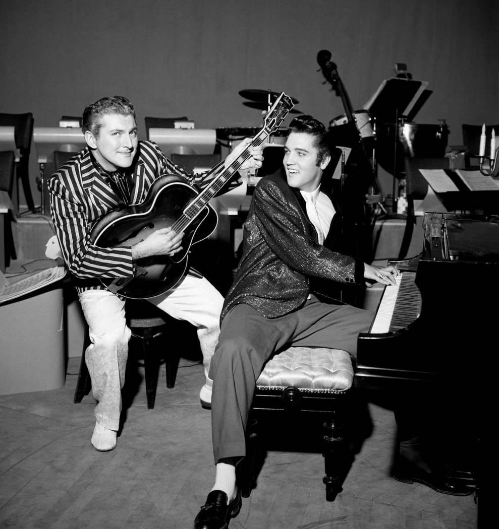 Liberace and Elvis at the Riviera on Nov. 14, 1956. (Las Vegas News Bureau)