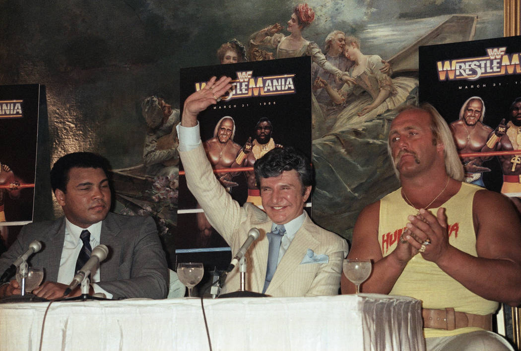 Muhammad Ali shown with Liberace, Hulk Hogan on March 29, 1985 at Madison Square Garden for Wre ...