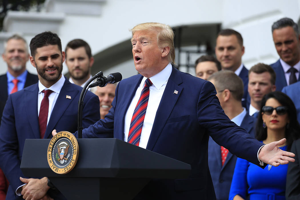 President Donald Trump speaks during a ceremony on the South Lawn of the White House in Washing ...