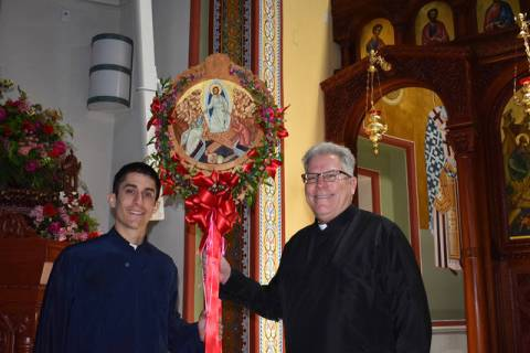 Left, Father Seraphim Ramos and Father John Hondros at the St. John the Baptist Greek Orthodox ...