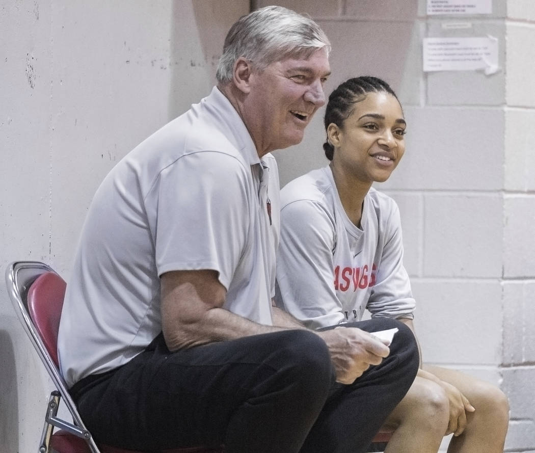 Dominique Wilson, right, talks with Aces head coach Bill Laimbeer during practice on Friday, Ma ...
