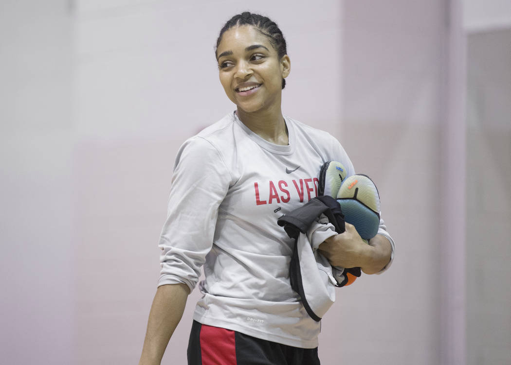 Dominique Wilson exits the gym after Aces practice on Friday, May 10, 2019, at Cox Pavilion, in ...