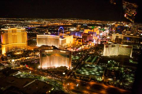 An aerial view of Las Vegas Strip is seen on Thursday, April 21, 2016. Jeff Scheid/Las Vegas Re ...