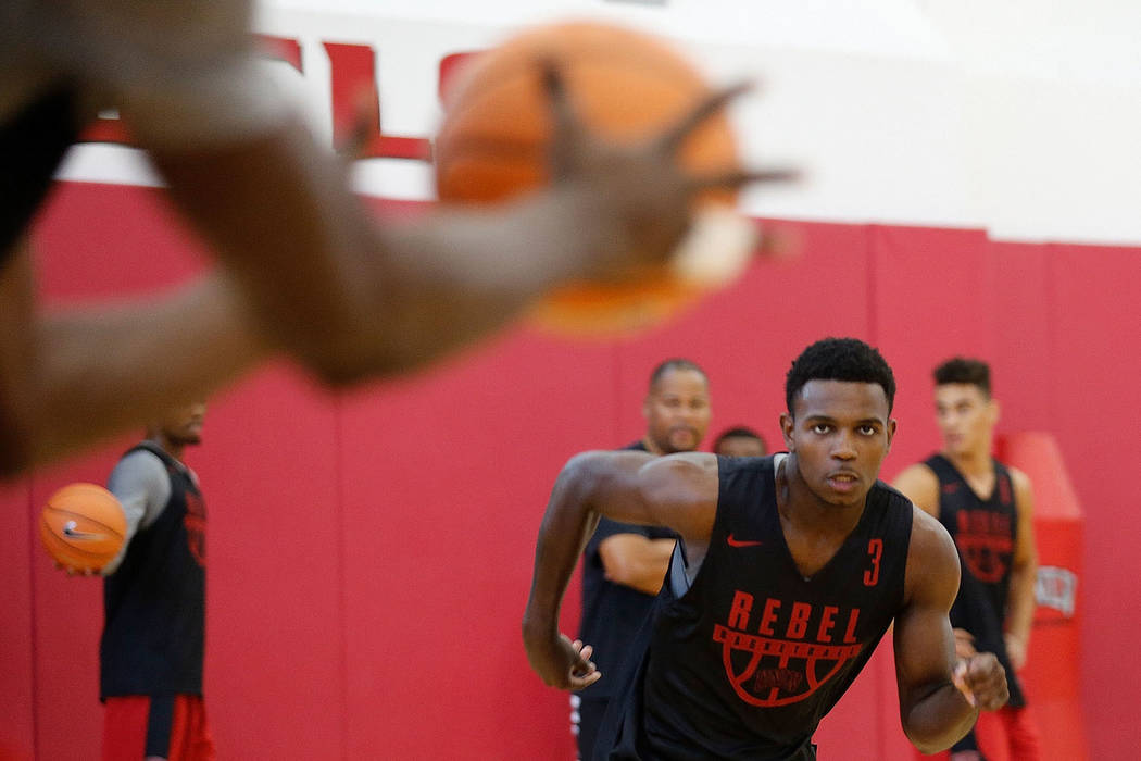 UNLV basketball player Amauri Hardy (3) runs during their practice at the Mendenhall Center in ...