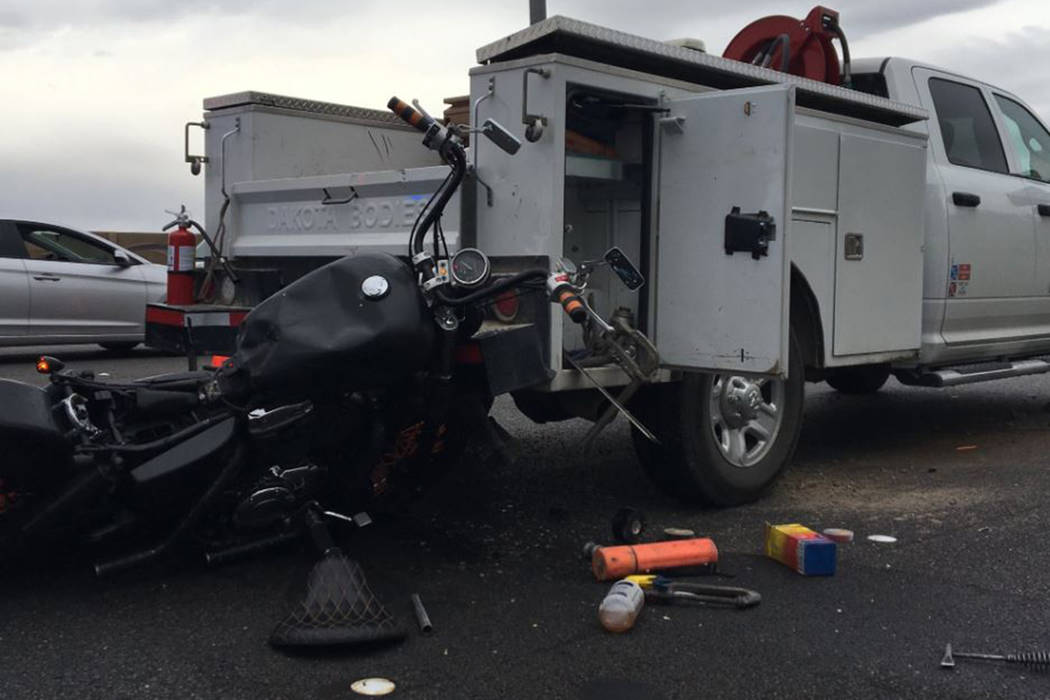 A motorcyclist was killed Thursday, May 9, 2019, when he crashed into the back of a pickup truc ...