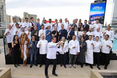 Chef Bruce Bromberg (front) marks the beginning of the 13th annual Vegas Uncork'd by Bon Appeti ...