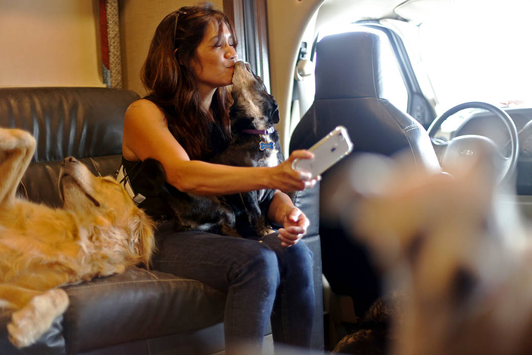 Michelle Silva, of Henderson, receives kisses from Molly while taking a selfie in The Asher Hou ...