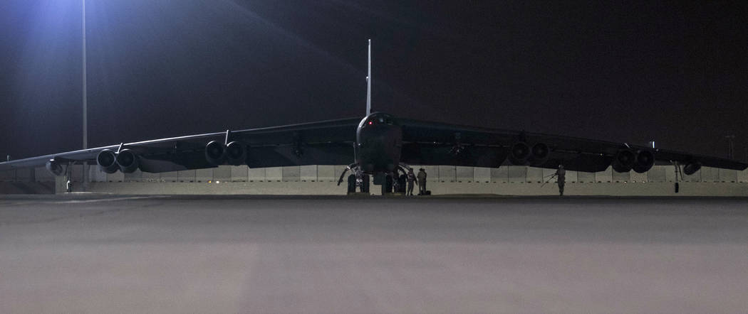 A B-52H Stratofortress assigned to the 20th Expeditionary Bomb Squadron is parked on the ramp a ...