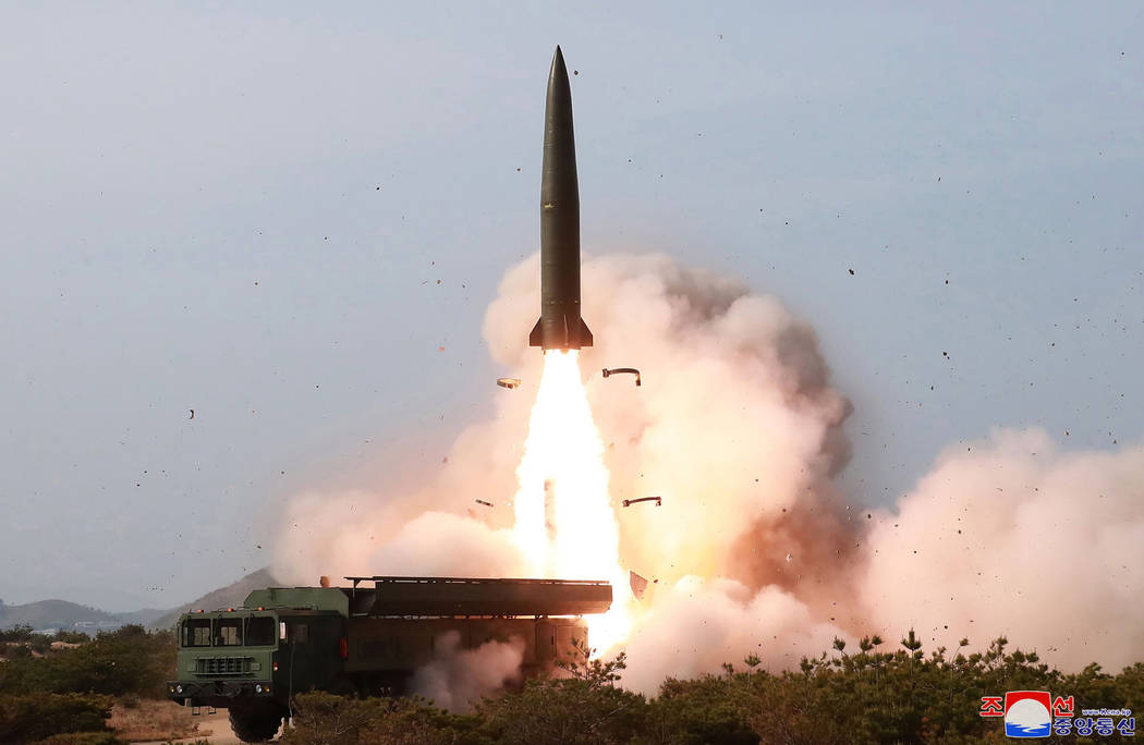 A May 4, 2019, file photo provided by the North Korean government shows a launch of a missile i ...