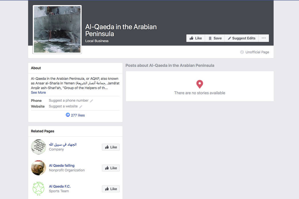 """A Facebook auto-generated page for a group identifying itself as the terror group """"Al-Qaed ..."""