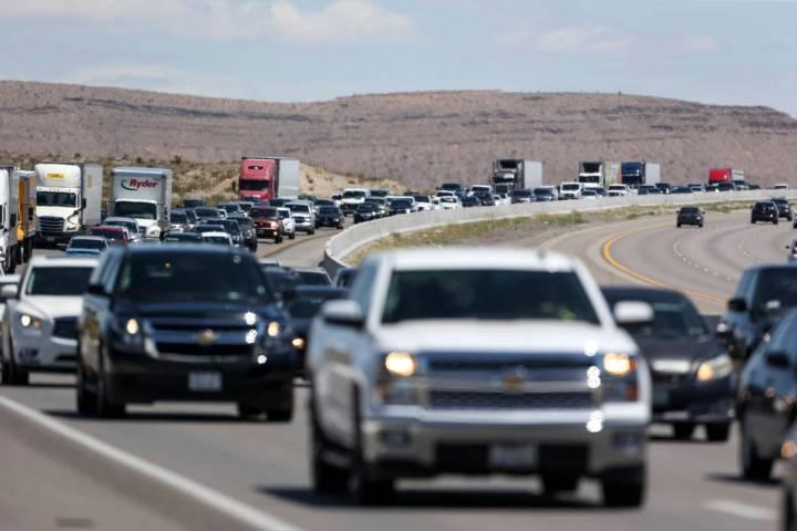 Heavy traffic moves along southbound Interstate 15 near Jean on Monday, May 28, 2018. (Las Vega ...