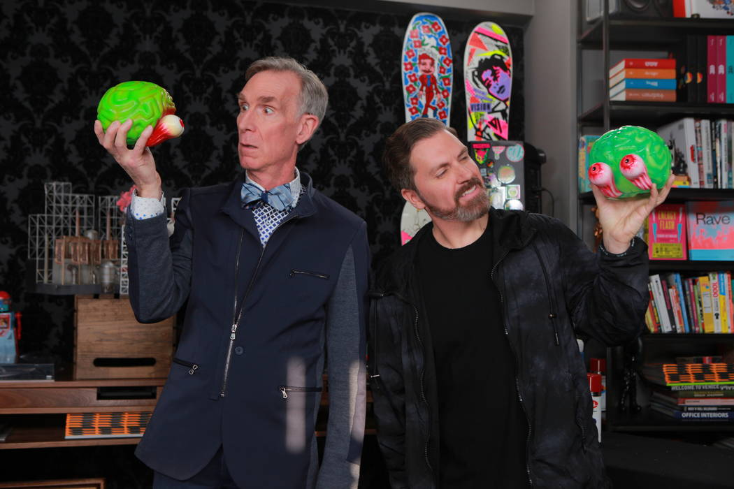 """Bill Nye, """"The Science Guy,"""" is shown with Electric Daisy Carnival and Insomniac Events founder ..."""