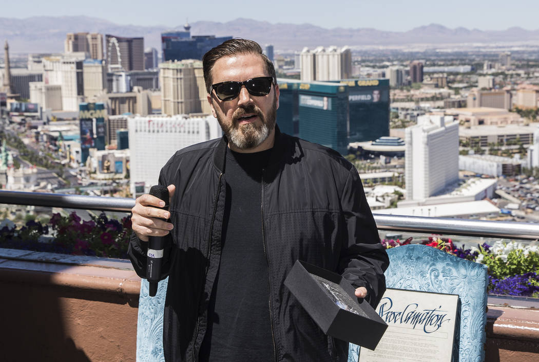 """Insomniac founder/CEO Pasquale Rotella accepts a """"Key to the Strip"""" during a ceremony on Ju ..."""