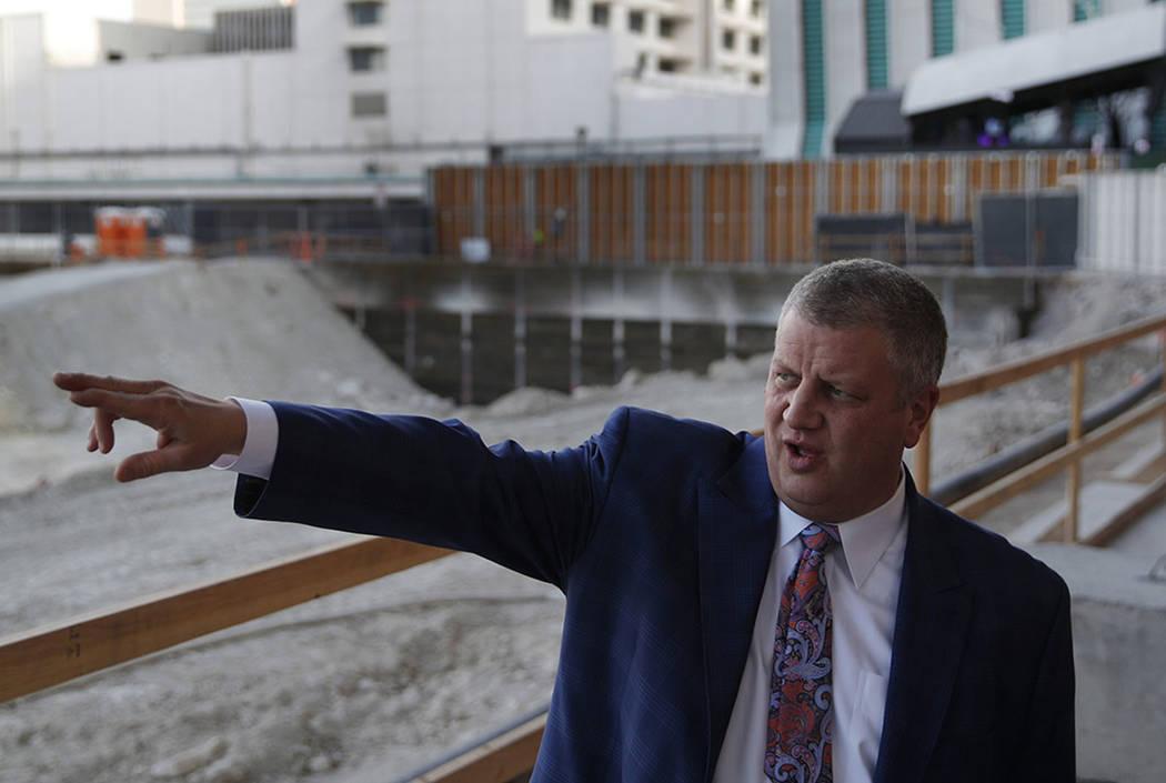 Casino magnate Derek Stevens conducts a tour where Circa is being built in downtown Las Vegas o ...