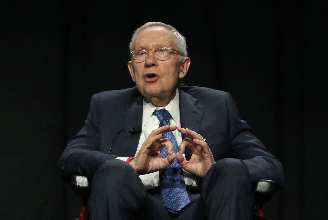 Former U.S. Sen. Harry Reid speaks as he participates in an exclusive panel discussion as part ...