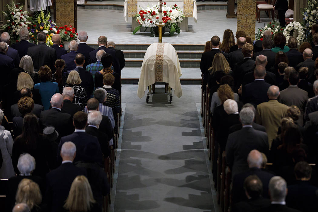 "The casket NHL legend Leonard Patrick ""Red"" Kelly lays at the Holy Rosary Roman Catho ..."
