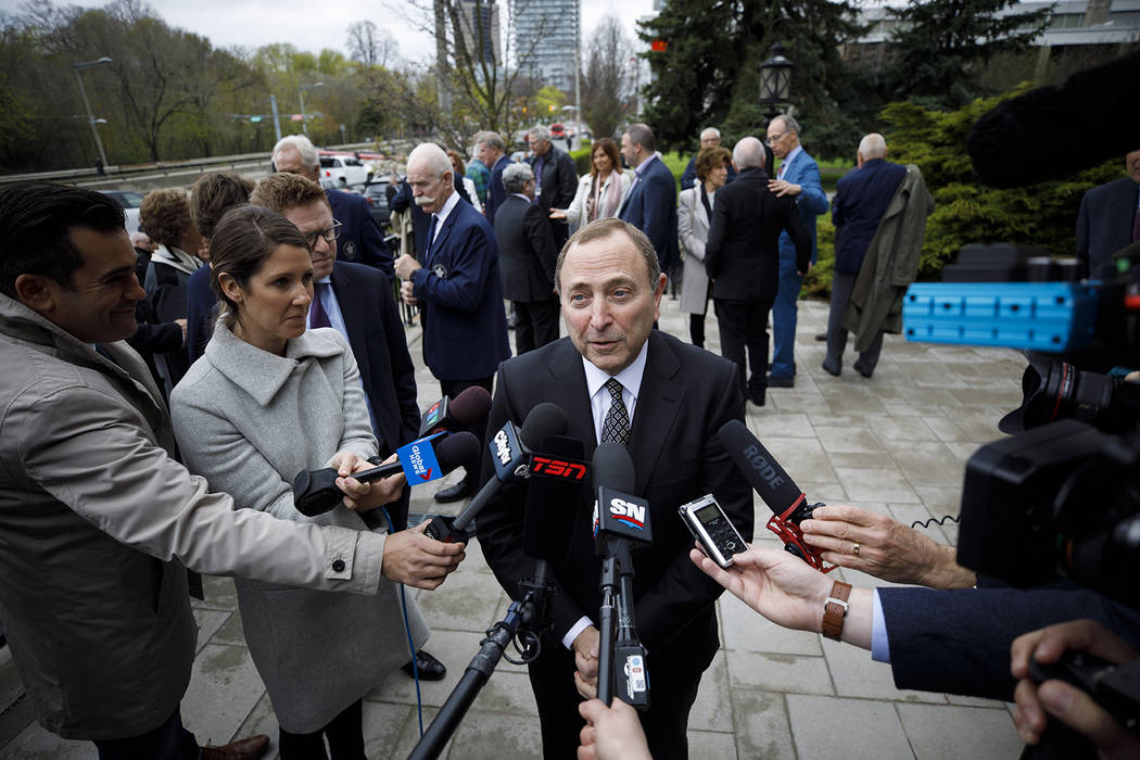 NHL Commissioner Gary Bettman speaks to the media following the funeral Mass for NHL legend Leo ...