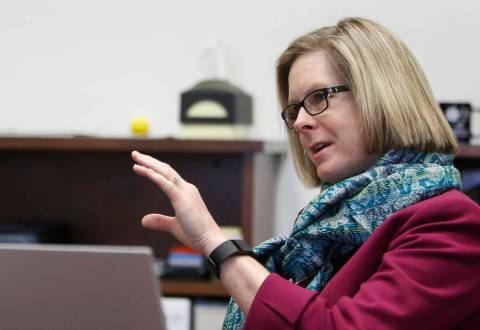 Dr. Margo Martin, vice president Academic Affair at College of Southern Nevada, speaks during a ...