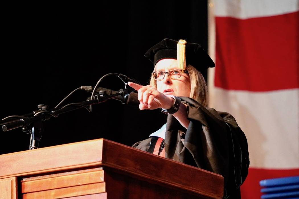 Acting President Dr. Margo L. Martin addresses the audience at the College of Southern Nevada's ...