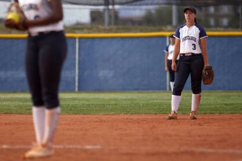 In this Wednesday, May 8, 2019, photo, Shadow Ridge High School's Caitlin Covington (3) waits f ...