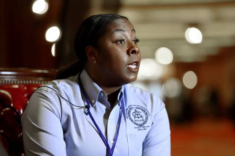 Henderson Police Department Chief LaTesha Watson during an interviewat South Point in Las Vegas ...