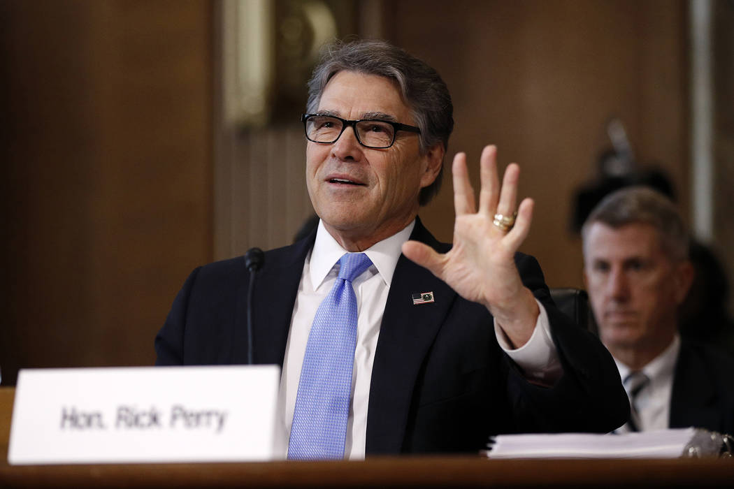 Energy Secretary Rick Perry testifies during a Senate Committee on Energy and Natural Resources ...