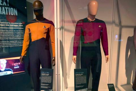In this May 9, 2019 photo, the actual uniforms worn by actors LaVar Burton, who played the char ...
