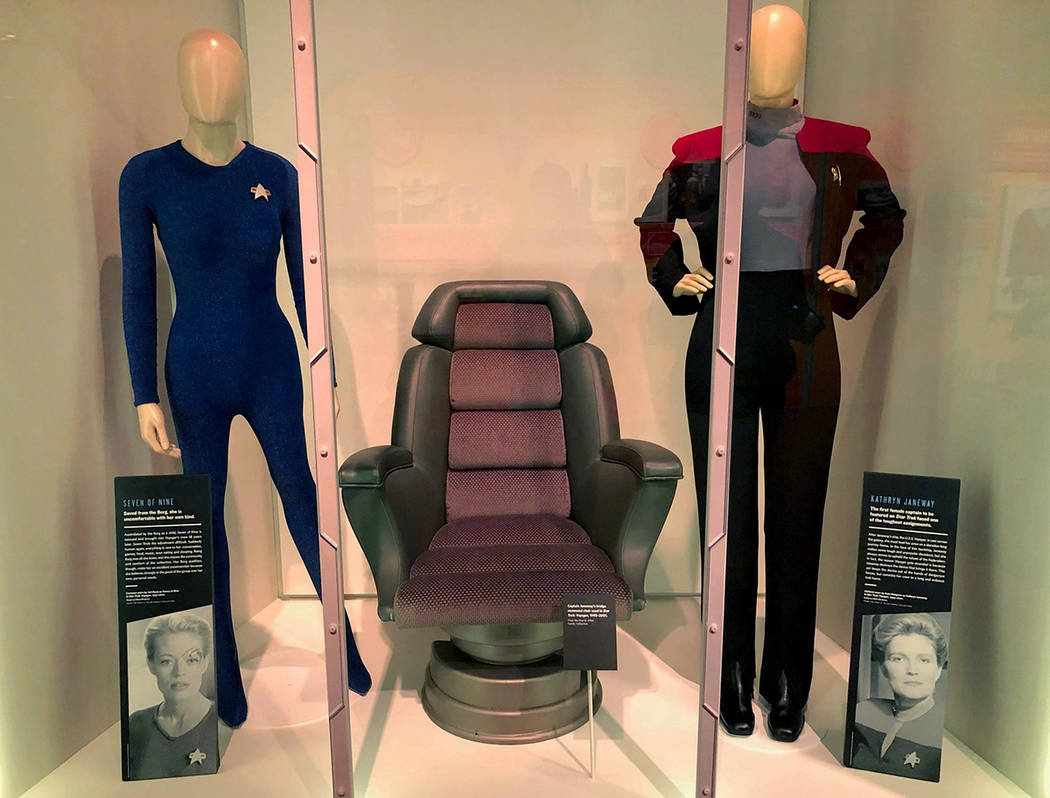 In this May 9, 2019 photo, the Seven of Nine costume, left, worn by actress Jeri Ryan and Capta ...