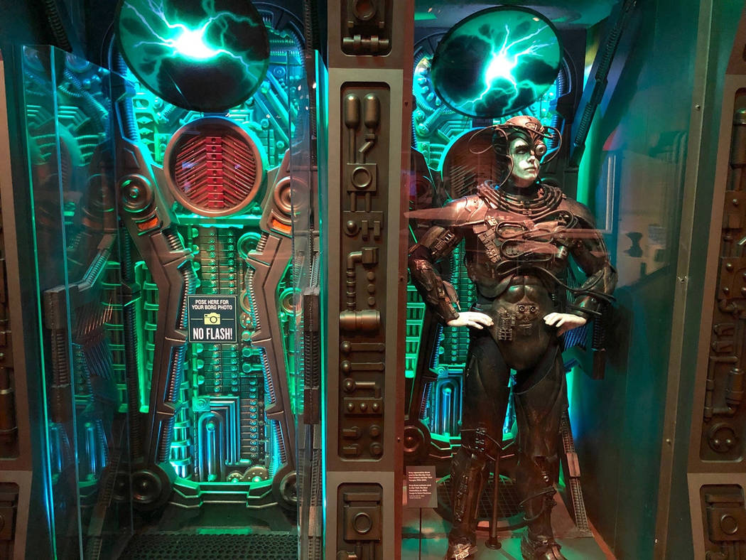 """In this May 9, 2019 photo, a Borg costume from """"Star Trek: The Next Generation"""" is di ..."""