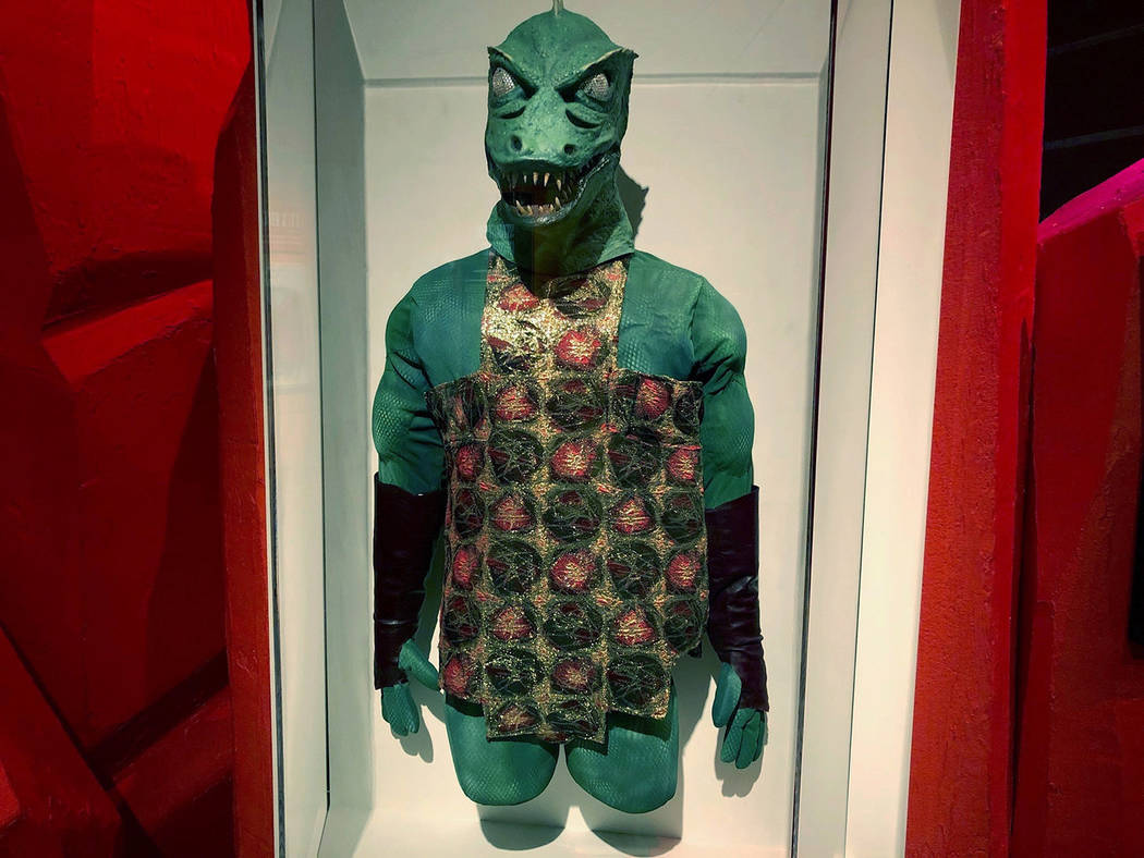 In this May 9, 2019 photo, the mask, tunic and gloves worn by William Blackburn as the Gorn in ...