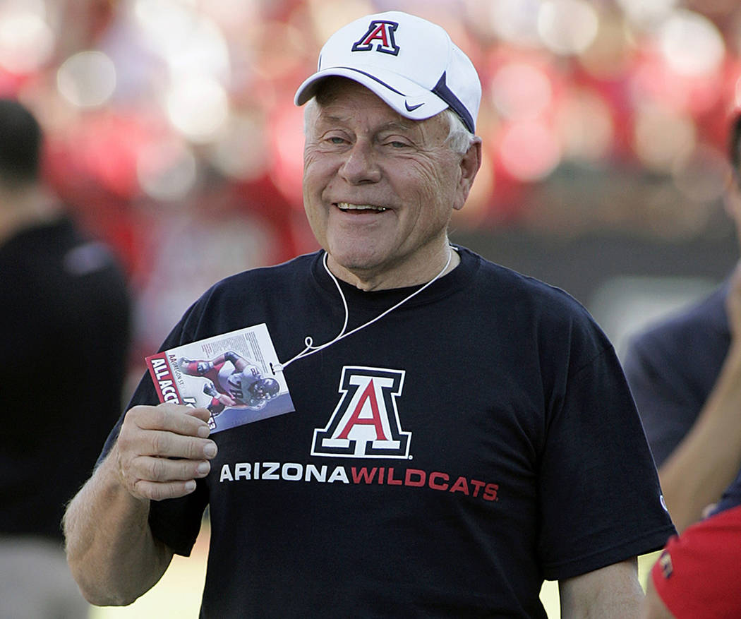 FILE - In this Oct. 9, 2010, file photo, former Arizona football head coach Dick Tomey, is seen ...