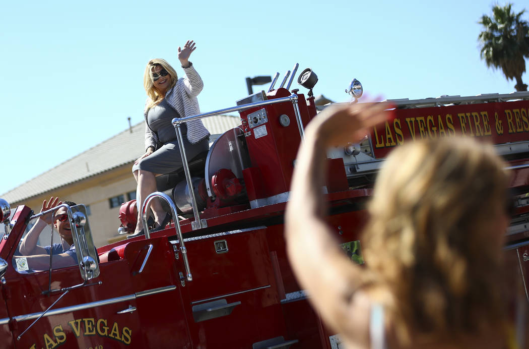 Las Vegas City Councilwoman Michele Fiore waves to attendees while participating in the Helldor ...