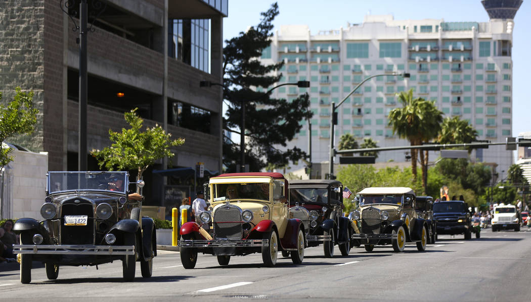 Members of the Las Vegas Valley Model A Ford Club participate in the Helldorado Parade along Fo ...