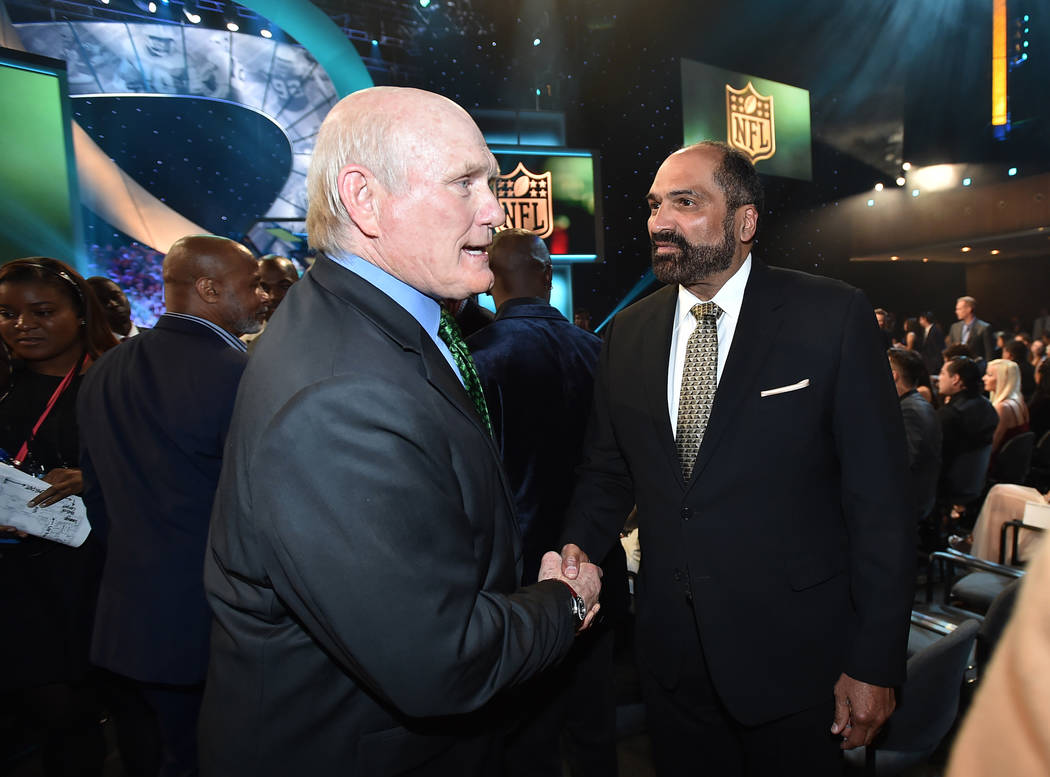 Terry Bradshaw, left, and Franco Harris pose in the audience at the fifth annual NFL Honors at ...