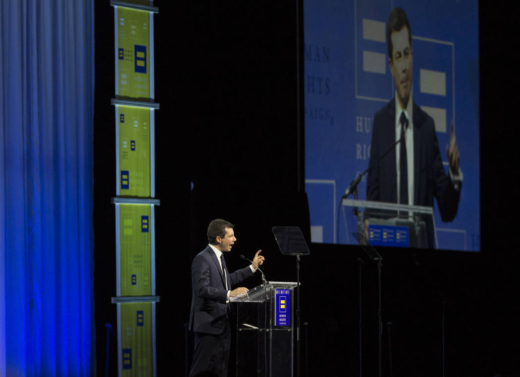 Democratic presidential candidate Pete Buttigieg speaks at the 14th Annual HRC Las Vegas Dinner ...