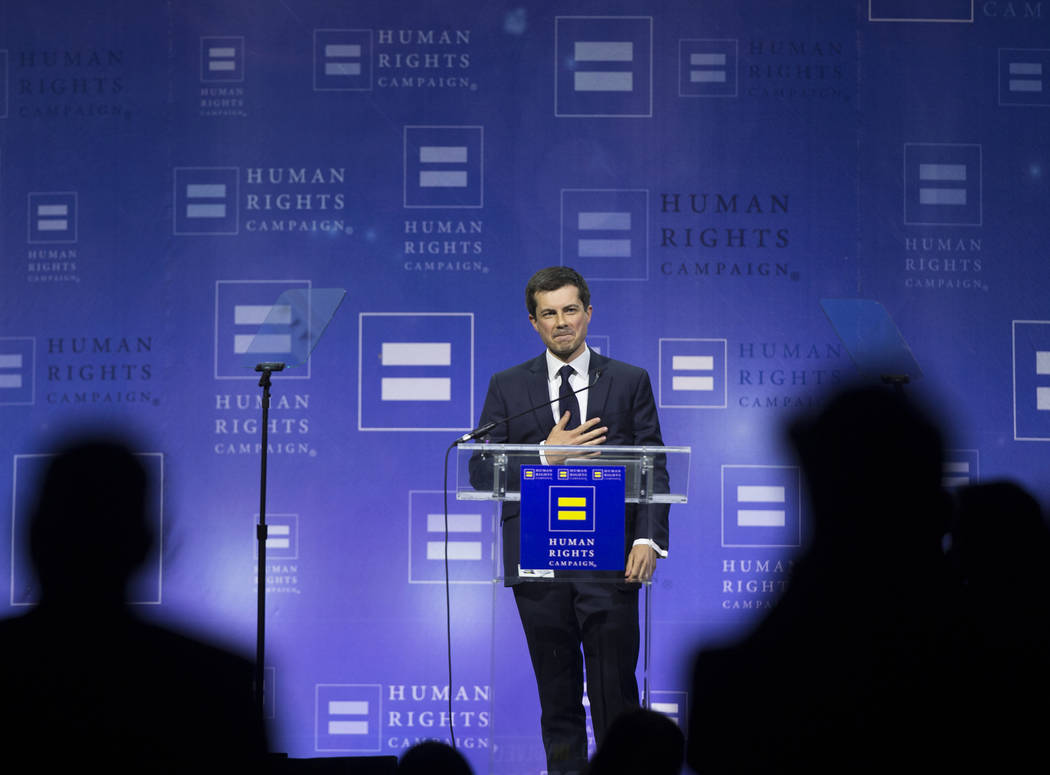 Democratic presidential candidate Pete Buttigieg thanks the crowd at the conclusion of his spee ...